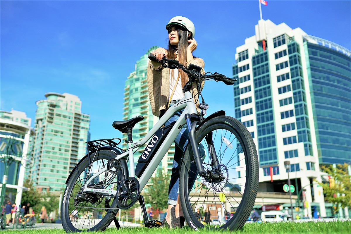 women riding envo ebikebc