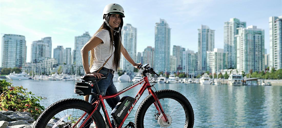 woman riding mountain ebike