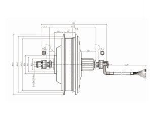 MXO1C diagram of a rear geared hub motor