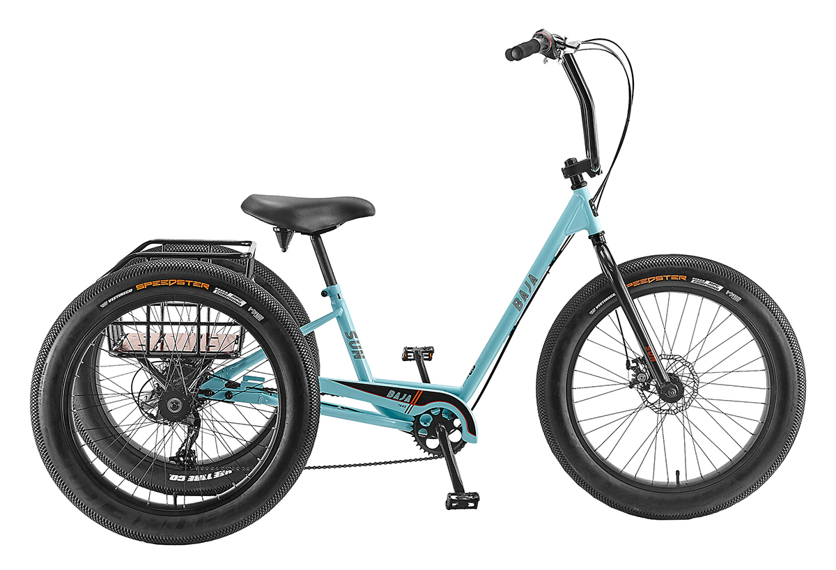 Electric SUN BICYCLES Baja Trike 24in, best ebikes bc, electric bikes canada, secure ebike, Light weight and high torque, Pedal assist, Throttle modes, heavy weight cargo, weight loss,