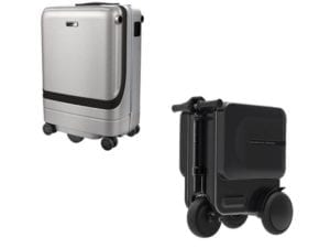 electric suitcases in black and silver