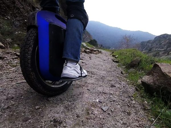 Gotway Monster e-unicycle on a rough path