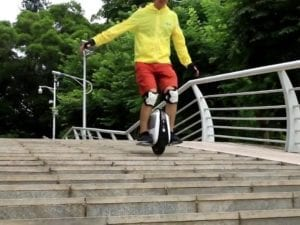 Gotway Mten3 electric unicycle going down stairs
