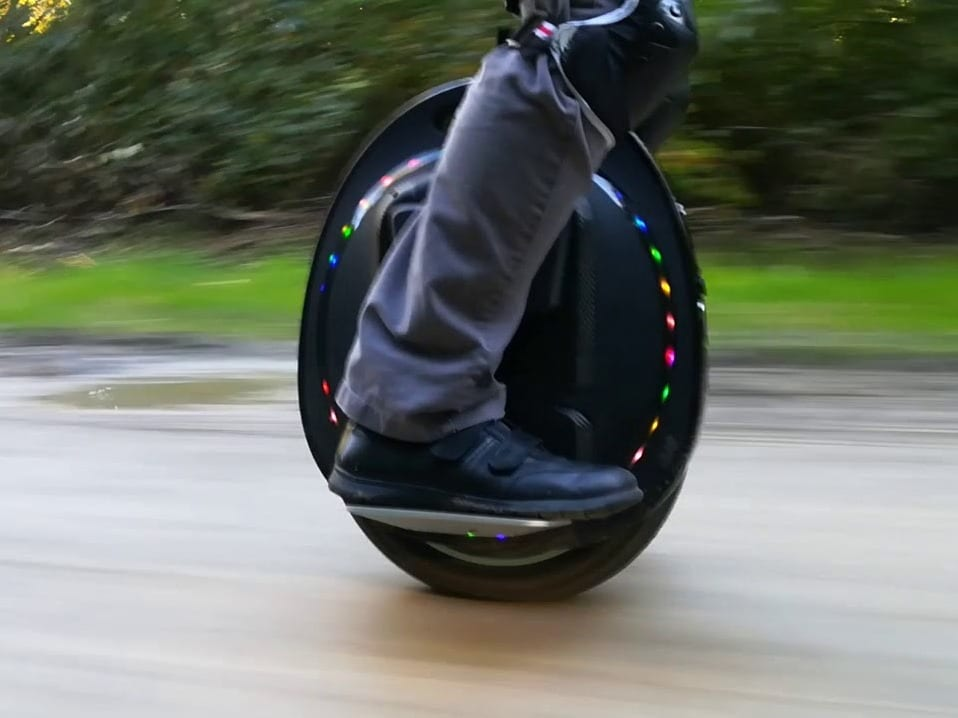 Gotway Tesra V2 electric unicycle on the road