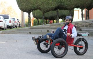 Man enjoying his recumbent electric tricycle