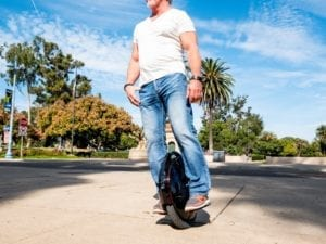 Electric unicycle rider inmotion