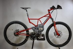 Red electric bicycle