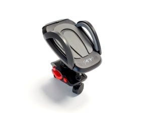 mobile phone holder for a bike with a red clip